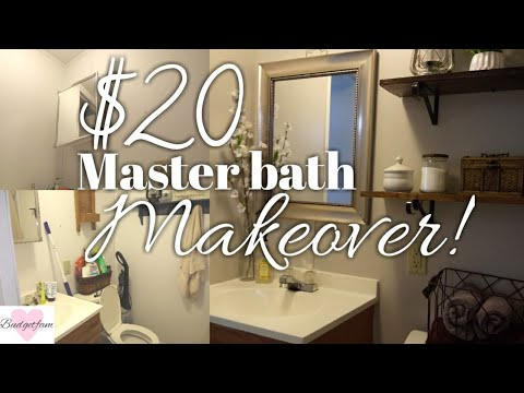 $20 master bathroom makeover / Fixing up my old mobile home part 2  / Painting and decorating !