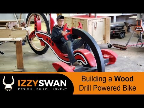 How To Make a WOOD BIKE and Power it with a CORDLESS DRILL