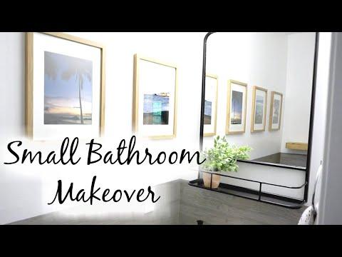 Small Bathroom Makeover: Wall Paper, Shelf Mirror, Wood Shelf