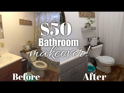 DIY $50 Guest Bathroom makeover | fixing up a old Mobile home | Collab with Domer home.
