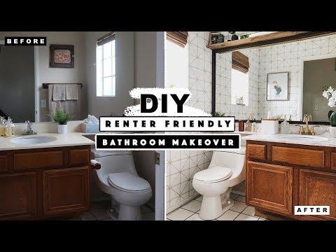 DIY Renter Friendly Half Bathroom Makeover