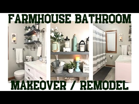 FARMHOUSE BATHROOM MAKEOVER | BATHROOM REMODEL | FARMHOUSE BATHROOM IDEAS | FARMHOUSE DECOR