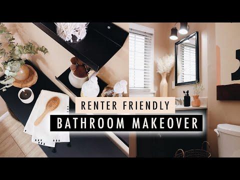 BATHROOM MAKEOVER + DIY Home Decor (Renter Friendly)