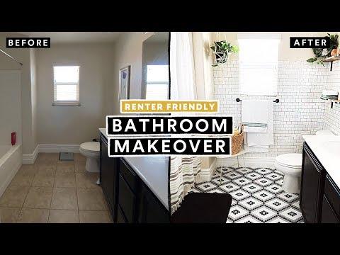 BATHROOM MAKEOVER UNDER $300 (Renter Friendly) + DIY Tile Floor & Brick Wall!