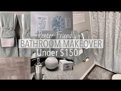 BATHROOM MAKEOVER UNDER $150 + DIY Tile Floor (Renter Friendly)