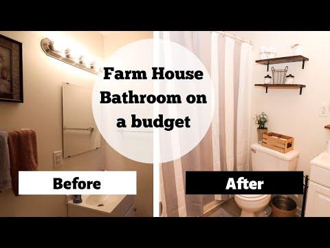 FARMHOUSE BATHROOM MAKEOVER   Bathroom Budget Makeover   Renter Friendly Bathroom