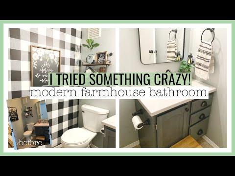 I TRIED SOMETHING CRAZY!  | DIY MODERN FARMHOUSE BATHROOM MAKEOVER ON A BUDGET!