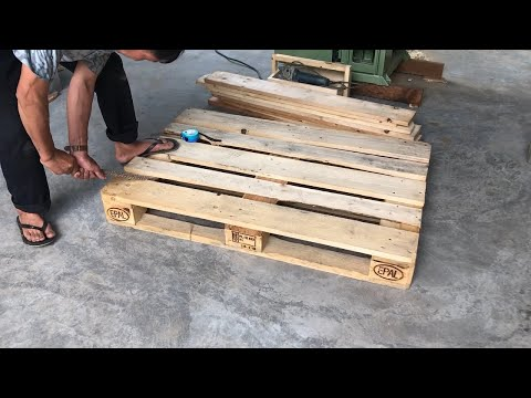 Amazing Woodworking Project From Pallet Wood // Build A Big Table From Old Pallets – How To, DIY