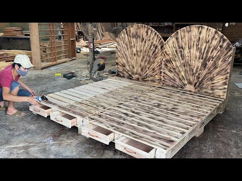 Amazing Design Ideas Woodworking Project Leverage Cheap From Pallet – Build A Double Bed From Pallet