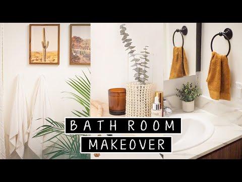 Extreme DIY Small Bathroom Makeover (Renter Friendly) | diy floor tiling & diy shelves