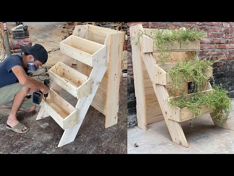 Woodworking Project – Unique Design Ideas Recycle Pallets Wood – Build flower-growing Ladder Boxes