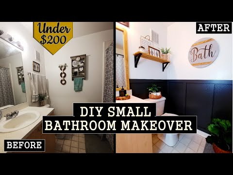 DIY SMALL BATHROOM MAKEOVER ON A BUDGET | RENTER FRIENDLY UNDER $200