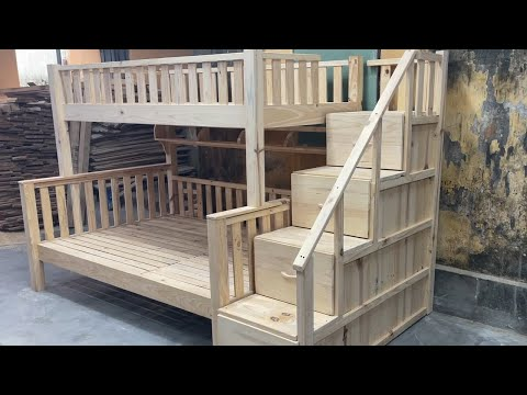 Amazing Carpenters Woodworking Are Constantly Creating – Build A Modern Two Story Bed For Your Child
