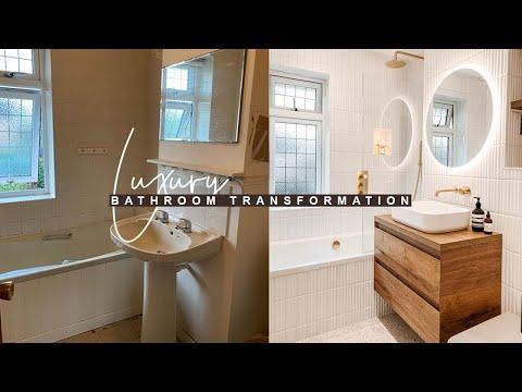 BATHROOM RENOVATION: BEFORE + AFTER |  LUXURY HOTEL INSPIRED BATHROOM