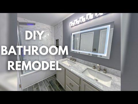 DIY Small Bathroom Remodel Timelapse   Modern Bathroom Design