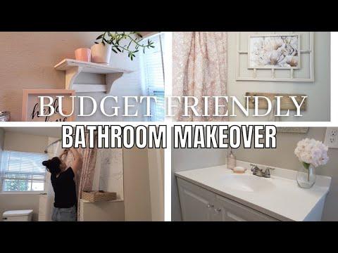Bathroom makeover on a budget | Budget friendly makeover | Small Glam bathroom transformation.