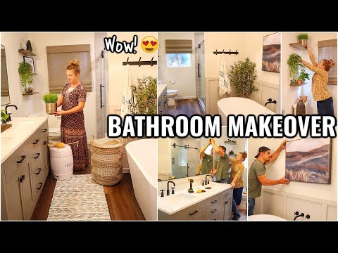 COMPLETE MASTER BATHROOM MAKEOVER!!😍 BEFORE & AFTER OF OUR ARIZONA FIXER UPPER