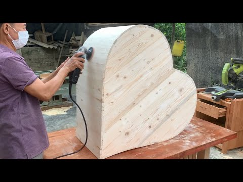 Top Romantic Woodworking Design Ideas // One of a kind Heart Shape Camouflage Love Chair